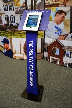 Ipad stands are a great way to add an interactive element to any trade show booth. Here is a branded version Adler Display created for Window Nation.