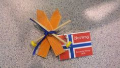 SWAP for Norway Girl Scout World Thinking Day- skis and poles made from craft sticks, toothpicks and buttons