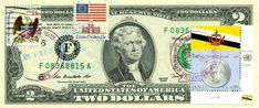 $2 DOLLARS 2009 FIRST DAY STAMP CANCEL FLAG OF UN FROM BRUNEI LUCKY MONEY $150 Independence Hall, Two Dollars, Brunei, World War I, Revolutionaries, Flag, The Unit, Stamp, Money