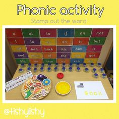 Phonics from the amazing Pre Reading Activities, Phonics Reading, Phonics Activities, Phonics Display, Writing Area, Writing Table, Early Years Classroom, Literacy Stations, Literacy Centers