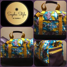 Sac Boston wax violet et jaune de Seysha Style - Patron sac weekend Sacôtin