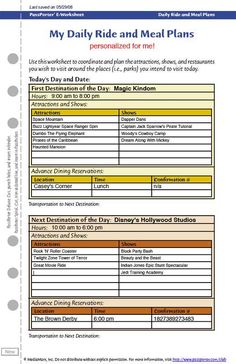 Disney Daily Ride and Meal Plan eWorksheet | PassPorter's Club