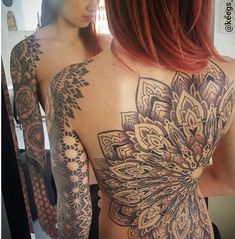 Check out this gallery of some of the sexiest feminine back tattoos that we could find. Advertisement What a sick looking back piece on Victoria Pham! Photo: Eric Graham Those sure do look like stormy seas! Amazing floral back piece. Advertisement Swallows along with a great quote from Macbeth. Intricately detailed lace back piece. Available at INKEDSHOP.COM: