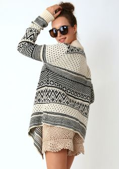 Aztec Zig Zag Intarsia Knit Beige Cape - Limited Time Offer - Tops - Retro, Indie and Unique Fashion