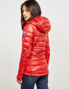 Canada Goose Hybridge Lite Hood Padded Jacket - available at Tessuti, the luxury designer retailer for Men, Women and Children. Canadian Goose Coat, Coats For Women, Jackets For Women, Hooded Cloak, Down Puffer Coat, Puffy Jacket, Luxury Dress, Sport Fashion, Jackets