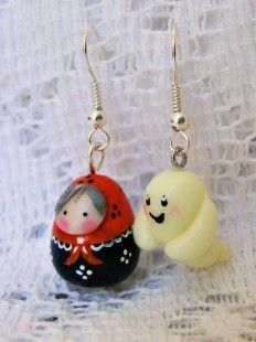 Boucles d'oreilles poupée Russe Halloween  : Boucles d'oreille par smaksall sur ALittleMarket