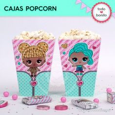 LOL: cajita popcorn Remember Day, Doll Party, Lol Dolls, Holidays And Events, Party Themes, Barbie, Birthday Parties, Palette, Pastel