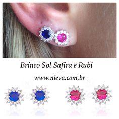 ✔️Brinco Sol Safira e Rubi!! , Ideal para o segundo furo! No ➡️www.nieva.com.br #brinco #segundofuro #rubi #safira #semijoias #details