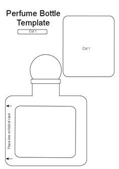 Perfume Bottle Template - need to check out other templates on the site - bjl Tag Templates, Card Making Templates, Chanel Party, Greeting Card Template, Shaped Cards, Card Tutorials, Copics, Card Sketches, Paper Piecing