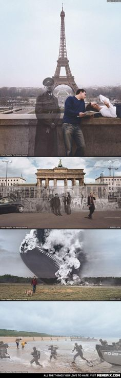 The History Channels advertising campaign . I love the History channel Photomontage, Then And Now Photos, Plakat Design, Photoshop, History Channel, Marketing, Creative Advertising, Advertising Campaign, Print Advertising