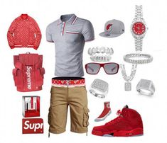 """""""Owww girl I'm on the way"""" by tikitress on Polyvore featuring Supreme, MOJO, New Era, Rolex, NIKE, Finesque, Sterling Essentials, SteelTime, Prada and Louis Vuitton #MensFashionSneakers"""