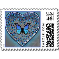 blue butterflies heart stamps by Fran E