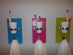 Cute bathroom organization thingys. I need to get on the ball. I would even color code their towels. :)