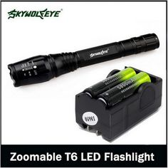 1 PC camping Outdoor Tactical Flashlight Black Zoomable 4000 Lumen 5 Modes XML T6 LED Torch Lamp Light 18650&Charger VEJ94 T50