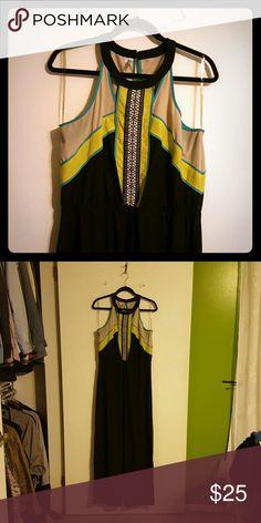 XXL maxi dress Plus size black maxi dress with lime and aqua accents Studio Y Dresses Maxi