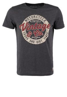 JJVCMIRO SLIM FIT - T-shirt imprimé - dark grey melange
