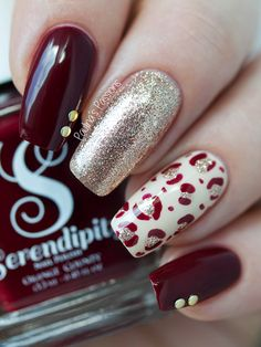Burgundy Fall acrylic Nails by Paulina's Passions