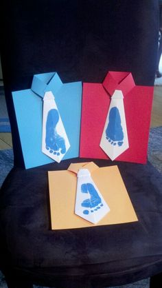 Footprint tie craft for father's day