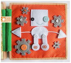 Robot quiet book page. Whenever silence is required, keep your child entertained with your own fun and creative quiet book.