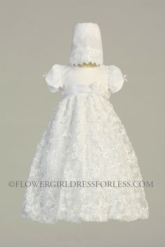 L_amber Girls Baptism Christening Gown Style Amber White Gown With Matching Bonnet New
