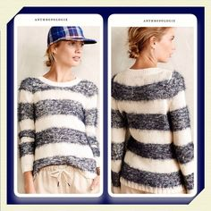 Anthropologie Eyelash Stripe Pullover This cotton blend sweater by Tabitha features fuzzy rugby stripes in a purplish blue over an ivory base, gorgeous sweater... Anthropologie Sweaters Crew & Scoop Necks