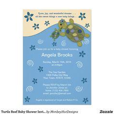 "Turtle Reef Baby Shower Invitation  Blue Green 5"" X 7"" Invitation Card / ocean, sea"