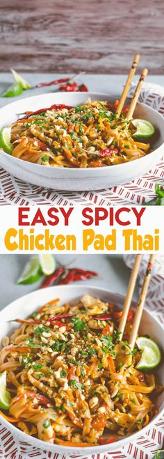 Throw away those takeout menus, this Easy Spicy Chicken Pad Thai will be your new favorite dinner that's quicker than delivery! This quick Thai dish will keep you from ordering all of that takeout! Easy Thai Recipes, Spicy Recipes, Asian Recipes, Dinner Recipes, Cooking Recipes, Healthy Recipes, Ethnic Recipes, Dinner Ideas, Vegetarian Recipes