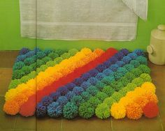 Vintage Rainbow Pom Pom Rug Pattern and Tutorial  by patternredux