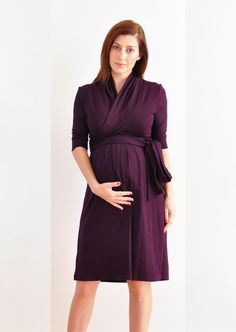 Maternity Dress . Maternity Wrap Dress With Short Or Long Sleeves In Dark Purple (Plum). $108.00, via Etsy.
