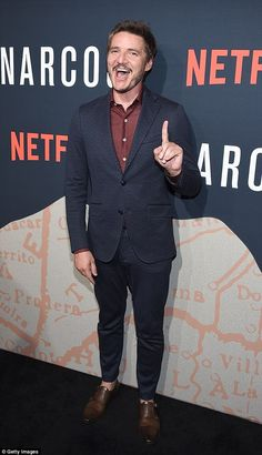 Number one: Pedro Pascal, 42, was front-and-center at the New York City premiere of his Golden Globe-nominated Netflix series Narcos on Monday at AMC Loews Lincoln Square 13