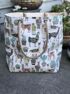 The Weekender Lovely Llama Jute Rope Handle Utility Tote Carryall Project Travel Vacation Beach Getaway Market Bag by KitchenKlutter on Etsy Alpacas, Cute Llama, Llama Llama, Llama Face, Baby Llama, Funny Llama, Llama Decor, Llama Gifts, Utility Tote