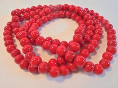 Vintage Red Malachite Strand Necklace Sterling by KathiJanes