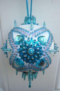 Satin beaded Christmas ornament kit Turquoise Garden by sarmona