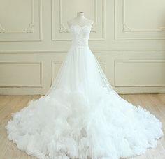Wedding Dress,2015 Wedding Dress,Lace Wedding Dress,Tulle Wedding Dress,Beading…