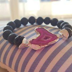Droozy Fuschia Agate Lava Rock Bracelet Om charm by BeDazzlingMoi Handmade Bracelets, Beaded Bracelets, Agate Gemstone, Organza Bags, Lava, Special Occasion, Om, Charmed, Gemstones