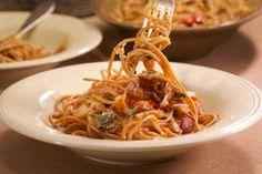 Bacon and Bay Tomato Sauce on Brown Spaghetti.
