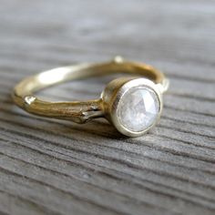 Love this handmade jewelry made from casting twigs and other natural objects!--White Rustic Diamond Twig Ring in Yellow Gold by kristincoffin found on ETSY