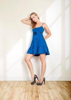 Handmade Blue dress Flounce dress Strap dress Summer dress Beach by folco