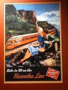 Hiawatha train poster at Ruby's Diner in Orange, CA