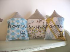 home sweet home - set of 3 fabric houses, be good for bunting