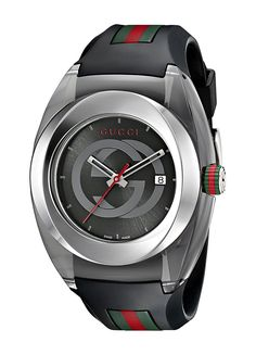 Gucci SYNC XXL Stainless Steel Watch with Black Rubber Bracelet. Swiss quartz movement with analog display. Water resistant to 50 m f). Sport Watches, Watches For Men, Nice Watches, Women's Watches, Wrist Watches, Fashion Watches, Jewelry Watches, Men's Fashion, Fashion Belts