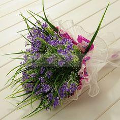 Organza Wrapped Purple Little Flower Wedding Bouquet