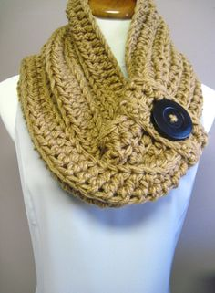 Chunky Bulky Button Crochet Cowl:  Warm Brown with Large Black Wood Button, via Etsy