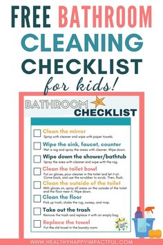 Weekly Cleaning Schedule Printable, Chore Schedule, Chore Checklist, Free Printable Chore Charts, Kids Checklist, Kids Schedule, Free Printables, Cleaning Bathrooms, Bathroom Cleaning Checklist