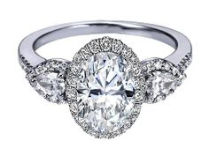 ngagement Ring - Oval Diamond Halo Engagement Ring Pear Shape Side Stones in 14K White Gold - ES1198DOV