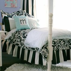 black & white teen room.  more sophisticated in a youthful way than the other rooms I have seen.