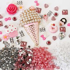 DIY 3D Bling Cell Phone Case Deco Kit: Pink and Matching Color Pearls, Rhinestones and Gems