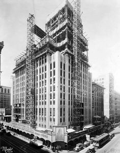 The Eastern Columbia building under construction at 849 Broadway, Downtown LA. Originally a department store and now lofts, it opened on Sep 12, 1930.