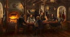 """This tavern suits me well, hidden in a less passerby corner of the city. Choosing an out-of-sight table, I propped my feet on the table and leaned back in the chair as the barmaid brought over mug of ale. I looked her up and down as she smiles shyly, setting the mug down on the table before turning away. """"Not pretty enough,"""" I thought to myself as I settled into watching the mixed of mortals and elves coming in and out exchanging stories and businesses.    art by anotherwanderer on…"""