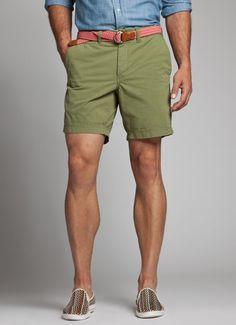 Mint green flat front khaki shorts, slim cognac belt, gingham ...